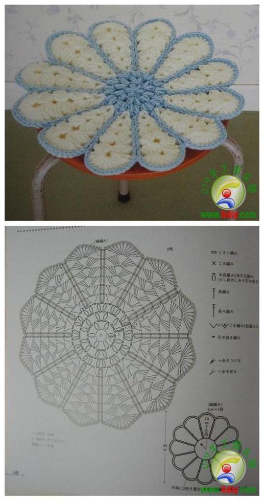 Galette De Chaise 13 Crochet D Amour Tricot Et Crochet Mandala Au Crochet Napperon Crochet
