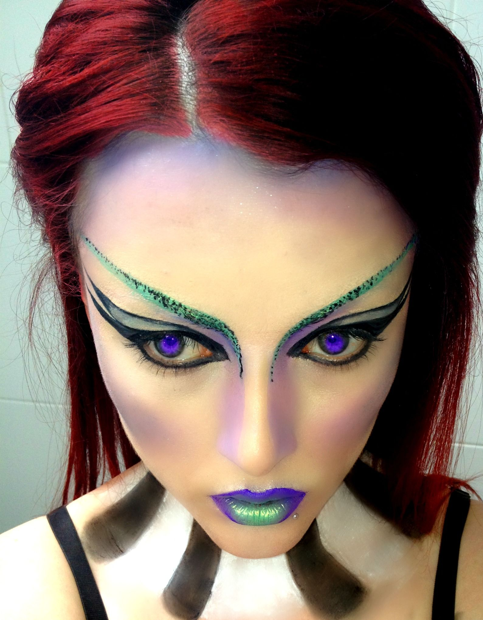 Futuristic Makeup Look on myself, blocked out eyebrows and neck detail <3