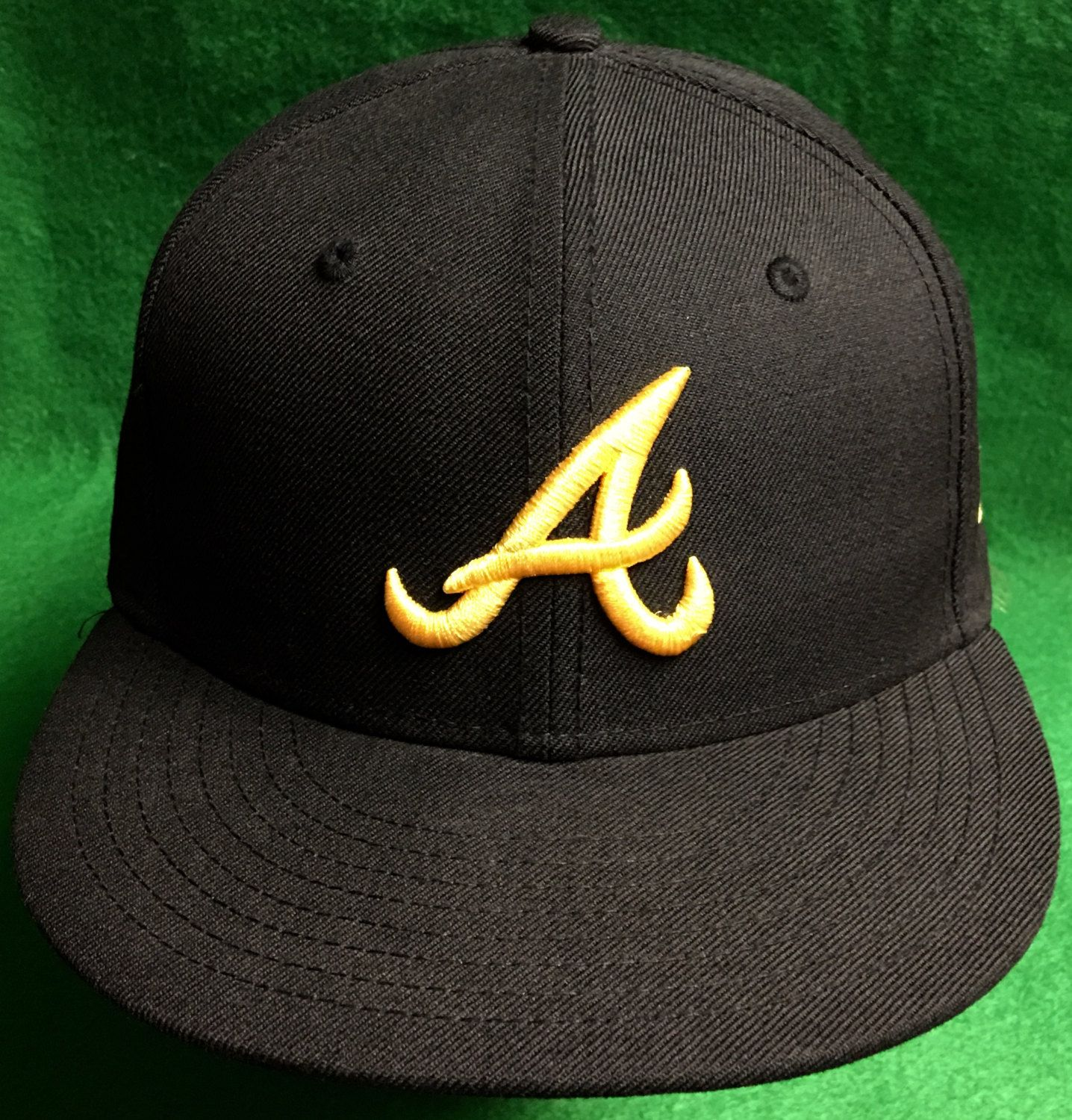 Atlanta Braves Black And Gold New Era Fitted Cap Size 7 1 4 By Corycranksouthats On Etsy New Era Fitted Atlanta Braves New Era