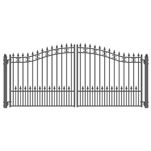 Aleko Steel Dual Swing Driveway Gate St Petersburg Style 12 X 6 Feet Wrought Iron Gate Designs Driveway Gate Iron Gate Design