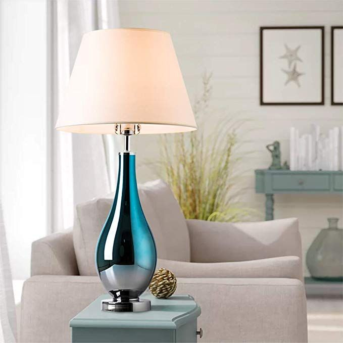 Table Lamps Set Of 2 Bule Ombre Glass 28 Side Bedside Table