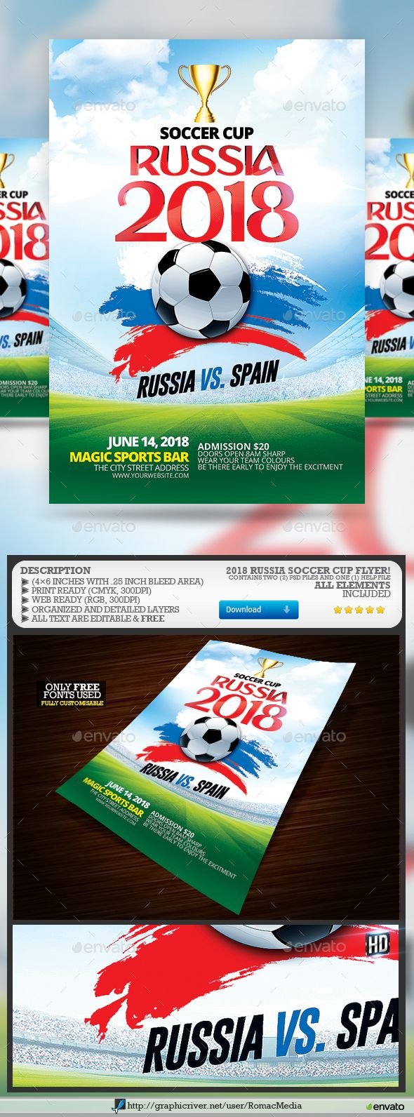 2018 soccer cup flyer sports events football flyer templates