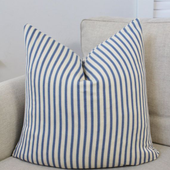 Ticking Stripe Pillow Covers, Blue