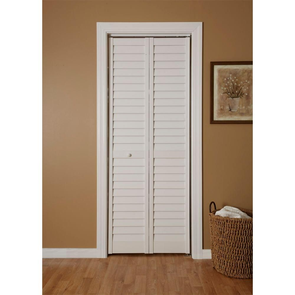 Home Fashion Technologies 24 in. x 80 in. 3 in. Louver/Louver White PVC  Composite Interior Bi-fold Door