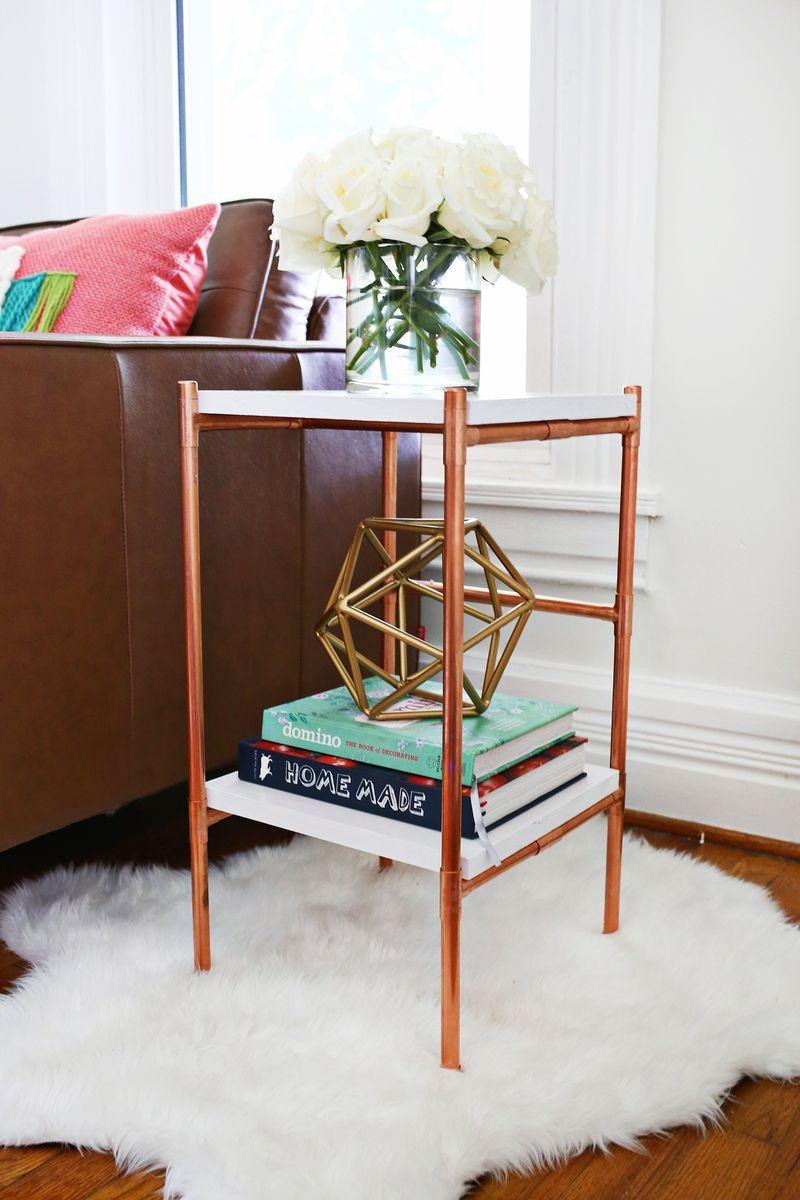 copper pipe side table diy design love pinterest kupfer diy m bel und m bel. Black Bedroom Furniture Sets. Home Design Ideas
