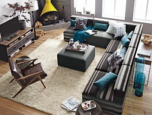 Savino 7 Piece Sectional Sofa Crate I Love The Fireplace And Large Bubbled Glass Vase Behind The Livingroom Layout Living Room Furniture Layout Sofa Layout