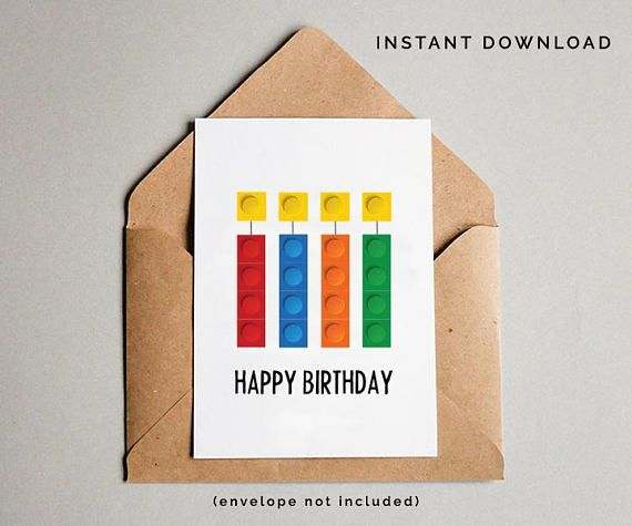 photograph relating to Lego Birthday Card Printable titled Developing Bricks Birthday Card, Boys Birthday Card, Boys