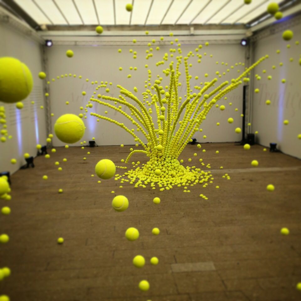 Exploding tennis ball installation by Ana Soler ( 1 of 2 )