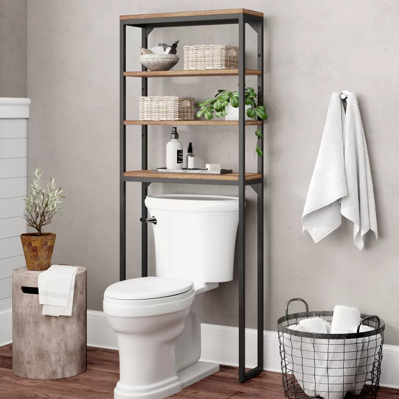 Eckles 25 W X 64 H Over The Toilet Storage In 2020 Toilet Storage Over Toilet Storage Toilet Shelves