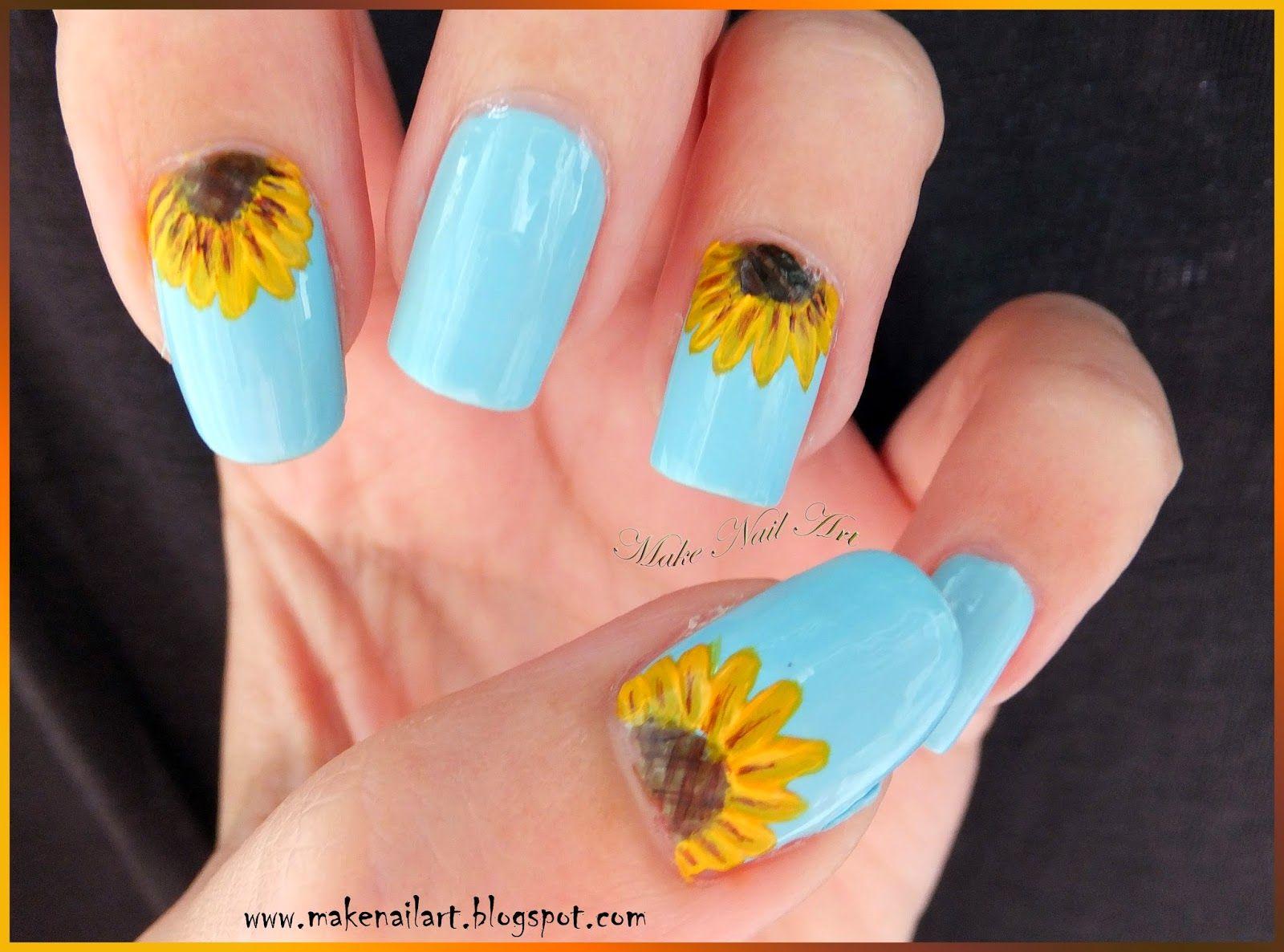 Make Nail Art: Sunflower Nail Art Tutorial - Nails Gelysh   Pinterest