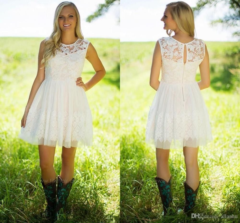 Country lace wedding dress with boots  New Short Mini White Ivory Country Lace Wedding Dress Bridal Gown