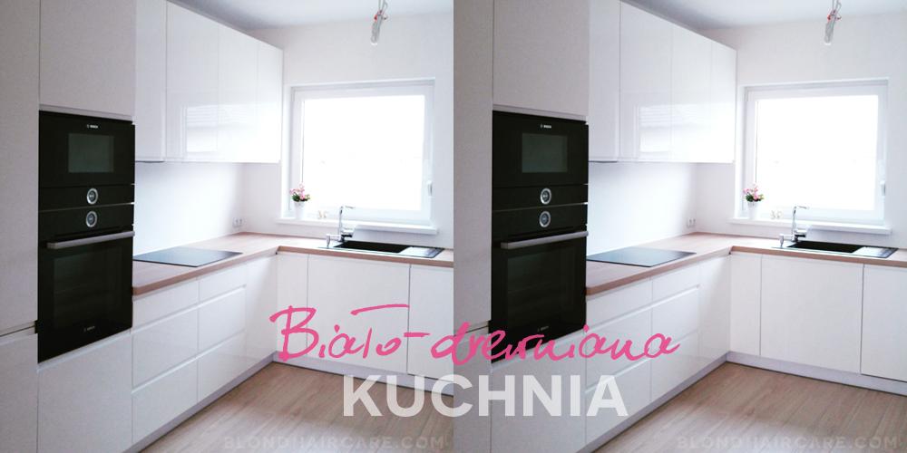 Biala Kuchnia Na Wysoki Polysk Z Drewnianym Blatem I Czarnymi Sprzetami Agd Pielegnacja Wlosow Blog Kitchen Home Decor Decor
