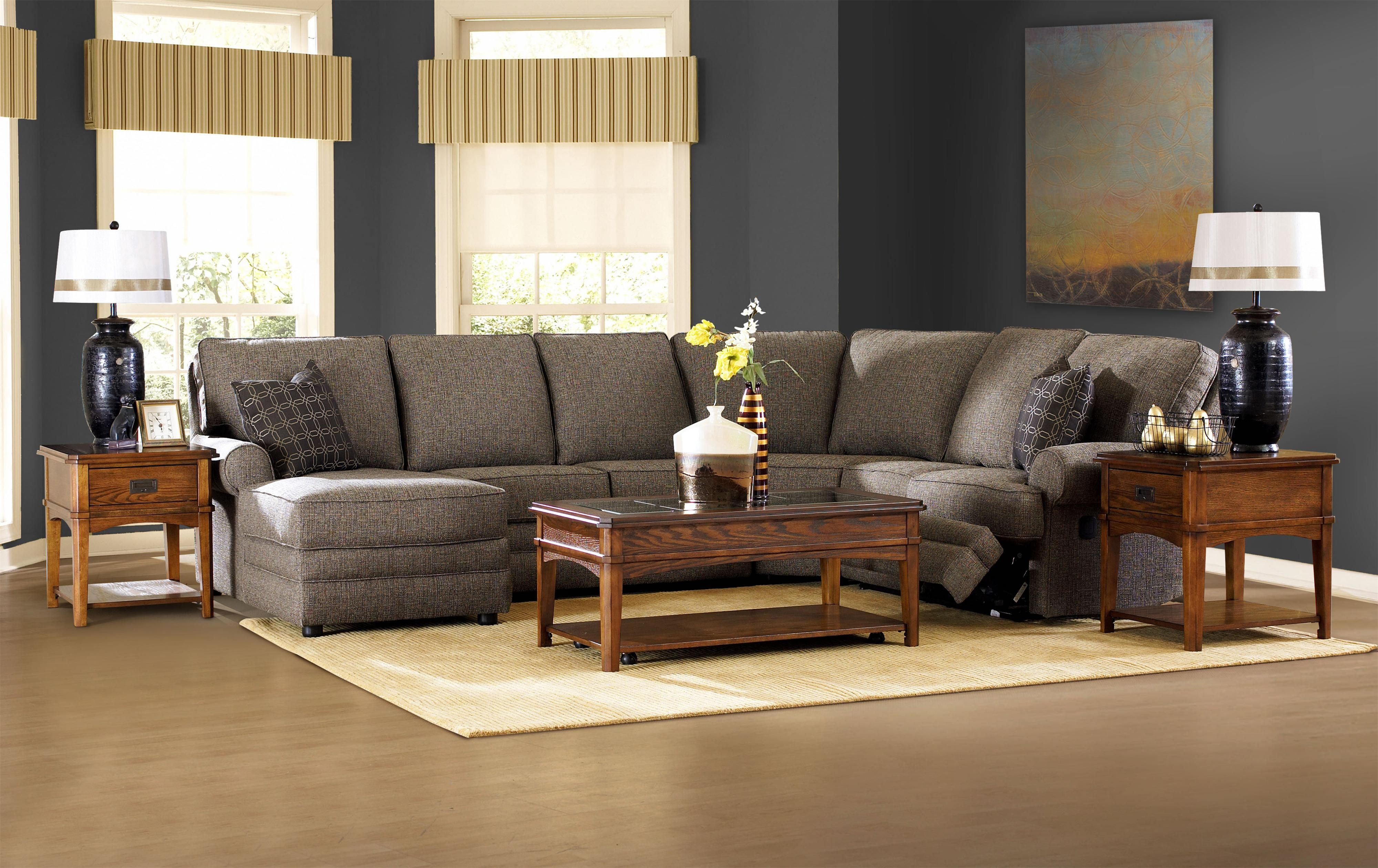 Belleview reclining sectional with leftside chaise by