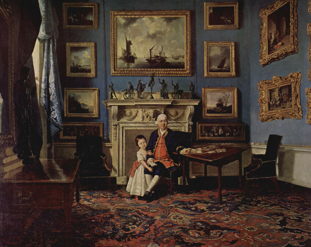 A prosperous 18th century merchant seated among his pictures, displayed in typical 18th century fashion  by Johann Zoffany