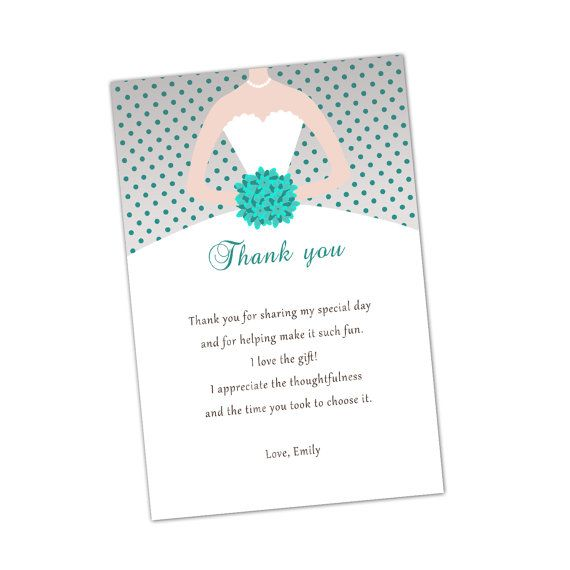 grey turquoise bridal shower thank you cards bouquet bride dress polka dots quinceanera sweet 16