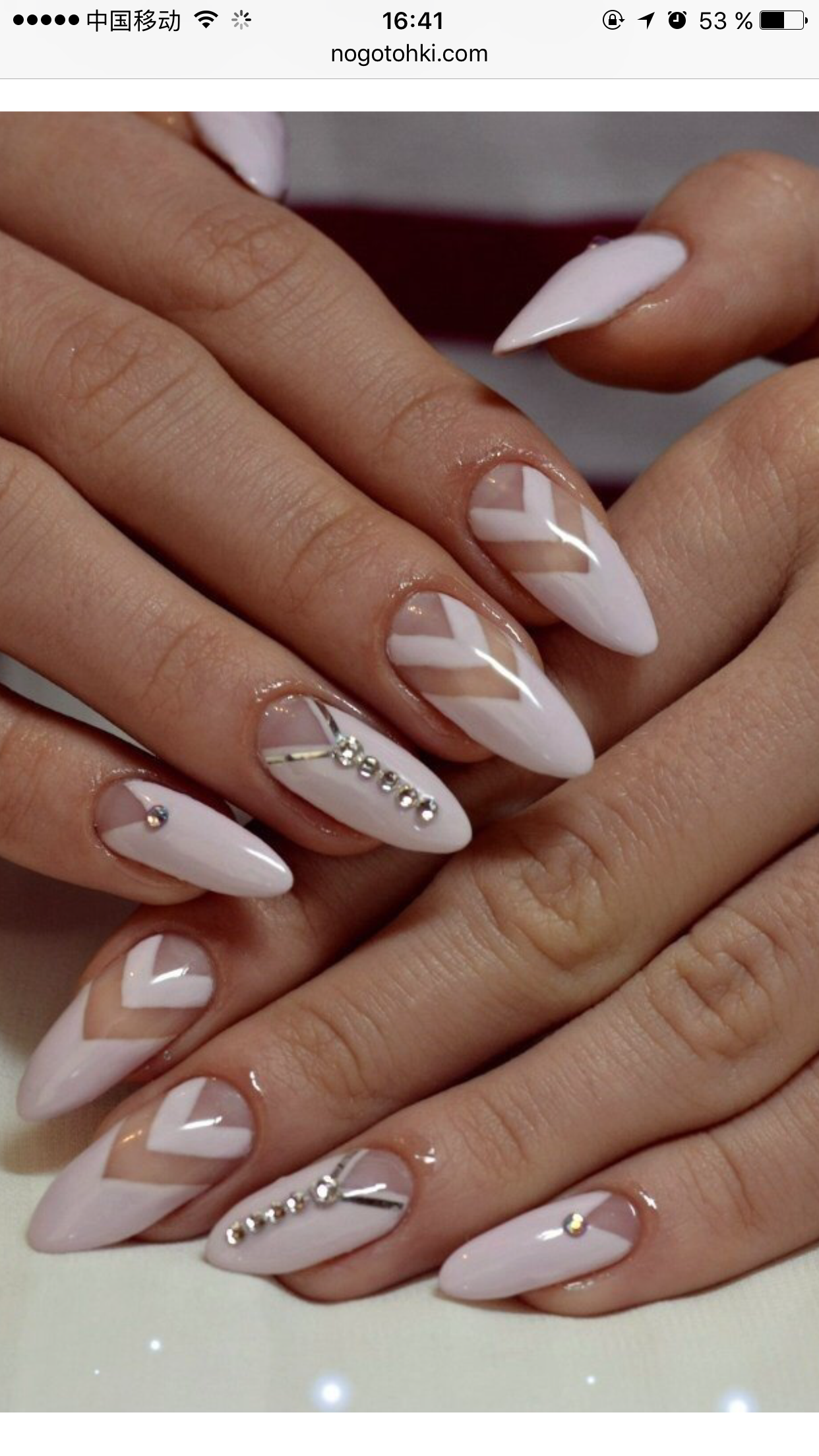 Beautiful nail design: nails are sharp. French on sharp nails 42