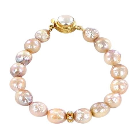 18K GOLD KASUMI PEARL BRACELET ROSE GOLDEN 9-10mm - New World Gems - 1
