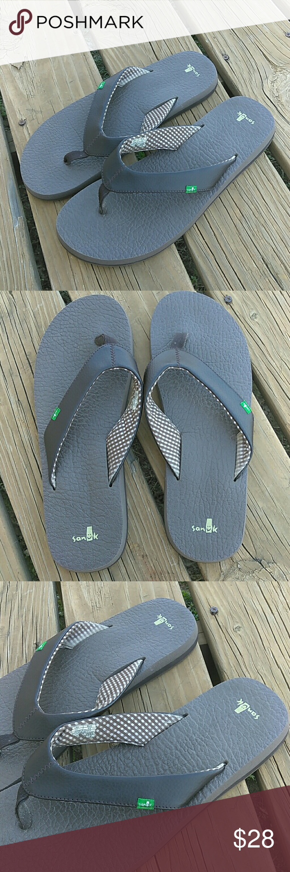 Sanuk Flip Flops Excellent Condition very comfy cushion soles Size 11 Have any questions feel free to ask   Ships Same/next day Mon-Fri  No trades  Bundle 2 items & Save 10%  Offers accepted they offer button only Sanuk Shoes Sandals