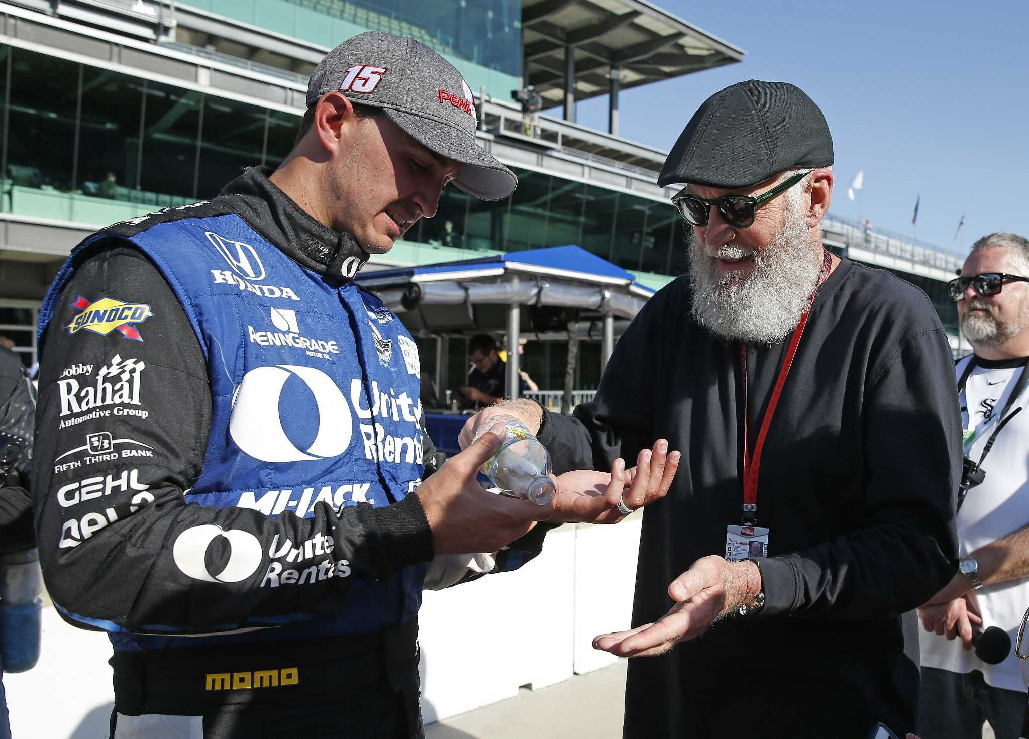 IndyCar teams turn attention to preparing for Indy 500. Graham Rahal, left, shows David Letterman the blisters on his hand following the Grand Prix of Indianapolis IndyCar auto race at Indianapolis Motor Speedway, Saturday, May 13, 2017, in Indianapolis | The Intelligencer