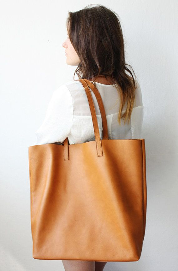 064a7e6f4501 Large Camel Leather Tote Bag  Unlined