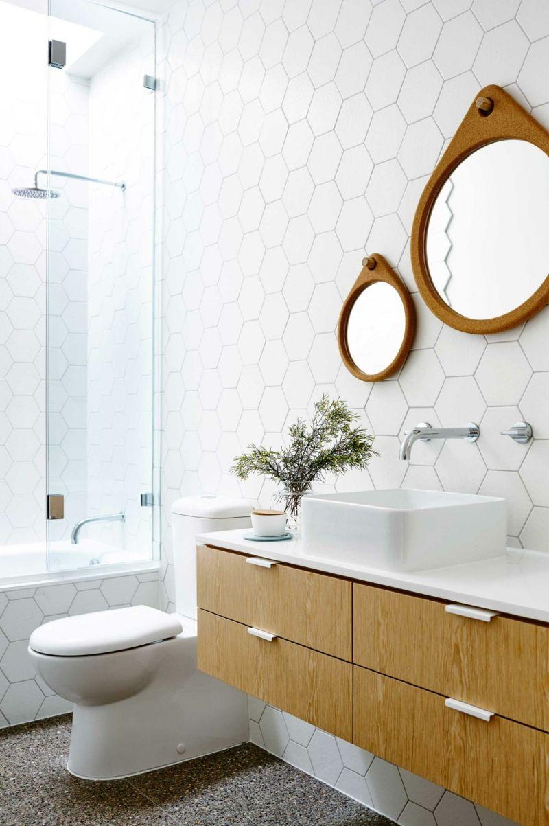 badezimmer einrichtung modern sechseckige wei e fliesen badezimmer ideen bathroom ideas. Black Bedroom Furniture Sets. Home Design Ideas