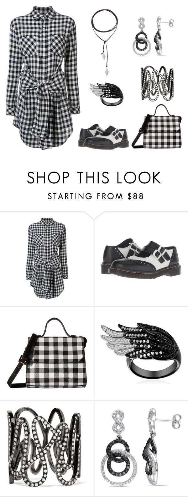 """""""Black and White"""" by karen-galves on Polyvore featuring Current/Elliott, Dr. Martens, Tommy Hilfiger, Repossi, Amour and Vanessa Mooney"""