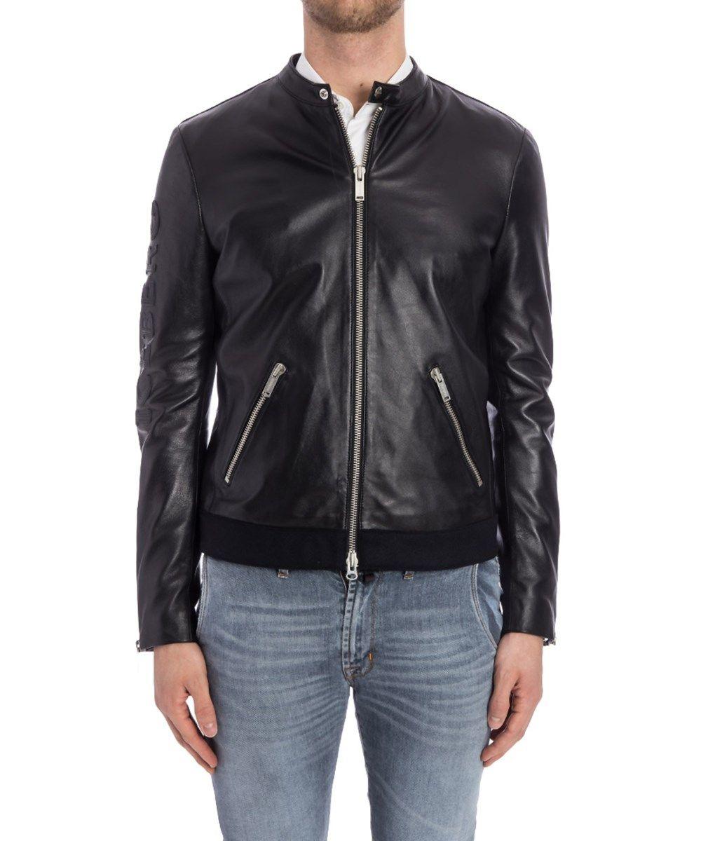 Iceberg Leather Jacket In Black Modesens Leather Outerwear Outerwear Jackets Mens Black Leather [ 1200 x 1000 Pixel ]
