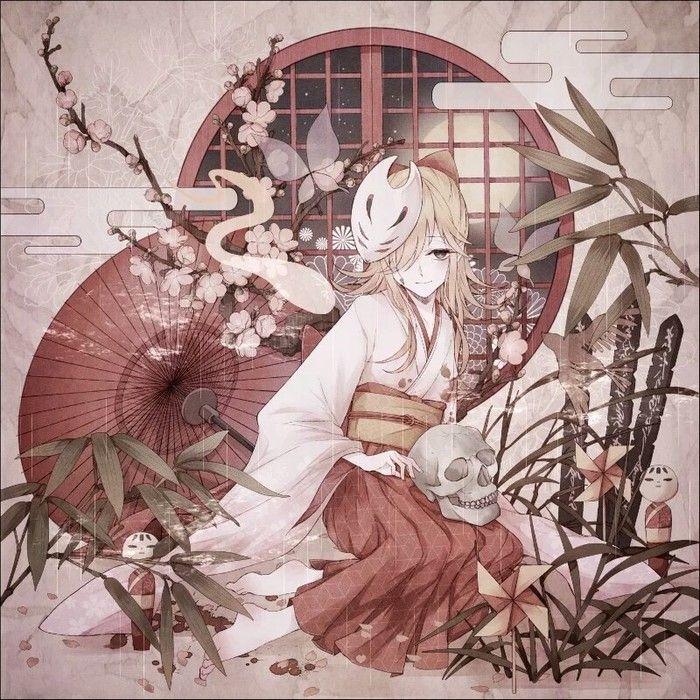狐仙,雨伞,和服,动漫插画壁纸,啊,小狐狸精
