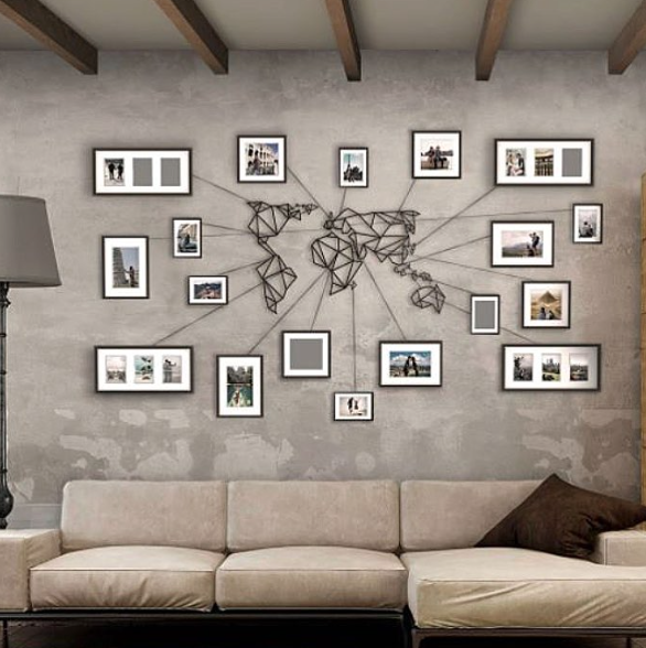 Awesome Minimalistic Metal World Map Wall Art Stands Out Due Due