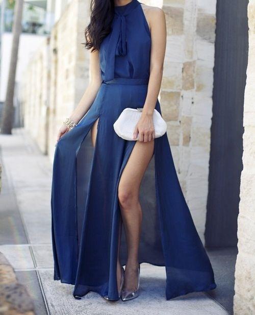 Navy blue two slit dress... Love!