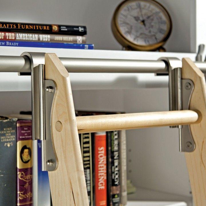 Rockler Classic Rolling Library Ladder Ladder Hardware Satin Nickel Library Ladder Bookcase Decor Ladder