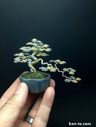 Gold Silver semicascade wire bonsai tree by Ken To by KenToArt.deviantart.com on @deviantART