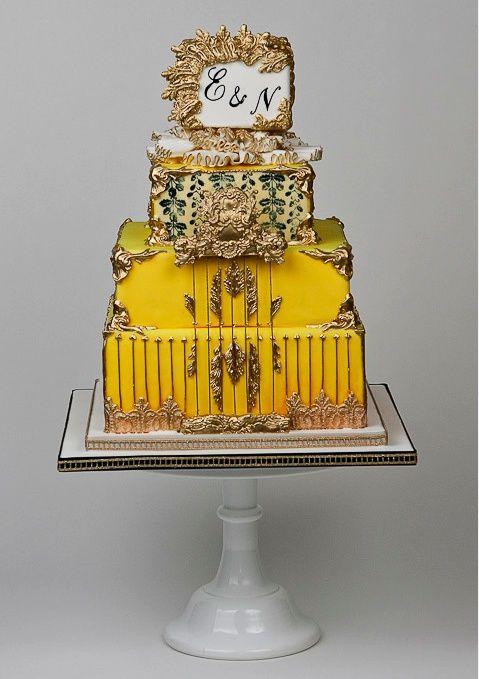 Found on WeddingMeYou.com - Unique Wedding Cake Designs - Yellow and ...