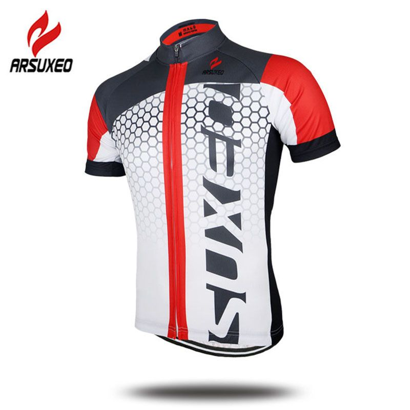 Arsuxeo Men's Summer Short Sleeve Cycling Jersey MTB Bike Bicycle Printing Shirt Sportswear Clothing - Color Blue Green Red