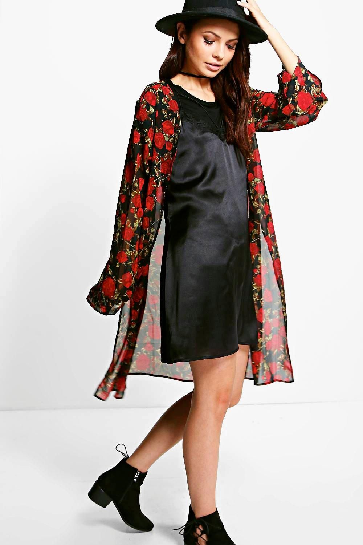 Beci Large Rose Print Maxi Kimono