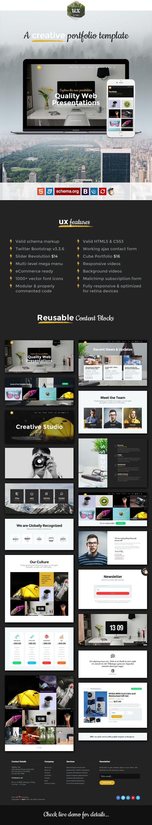 UX - Responsive Bootstrap Creative Portfolio Template | Creative ...