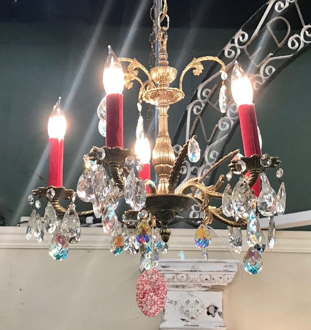 Pink Chandelier With Crystal Prisms On Sale Was $475 Sale Price ...
