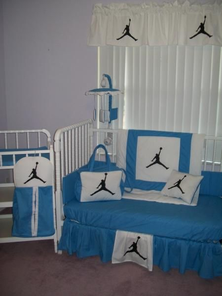 Michael Jordan Blue And White Crib Bedding Set Mobile Diaper Bag