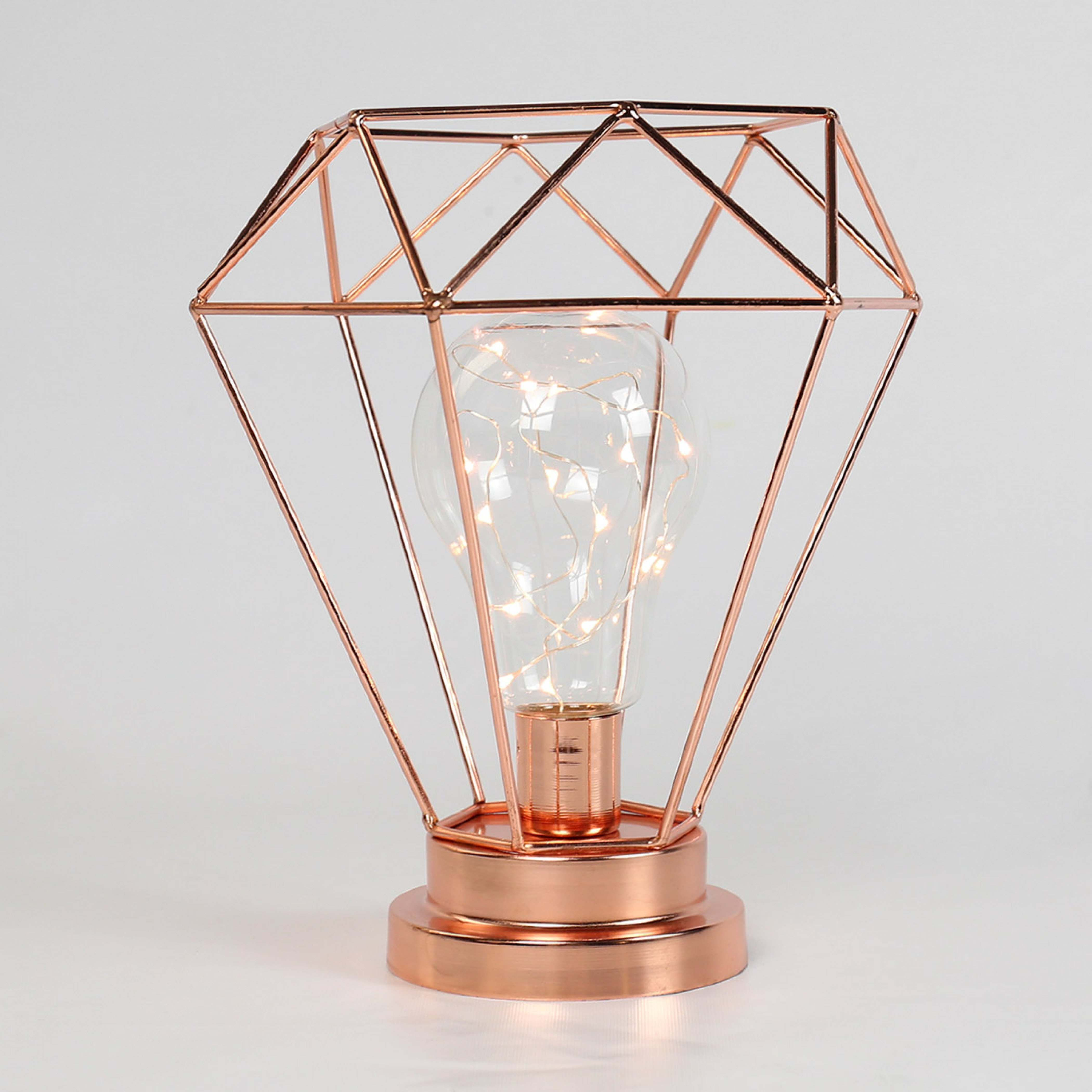 metal rose gold battery lamp with wire lights warm white leds rose gold lamp gold terrarium. Black Bedroom Furniture Sets. Home Design Ideas