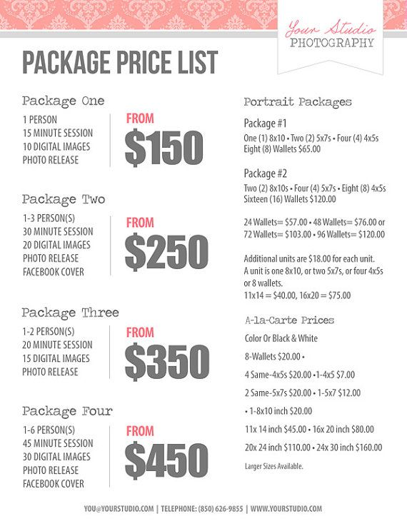 Wedding Photography Price List - Session Packages Pricing Sheet
