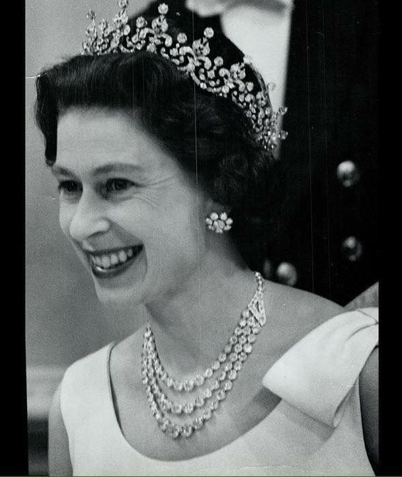 The Queen in the Girls of Great Britain and Ireland tiara