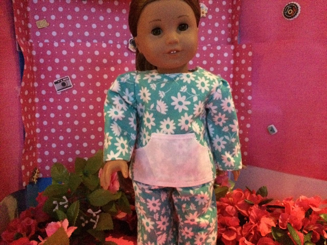 American Girl Doll Clothes, Handmade,Fits 18 inch Doll. 2pc Pajama Set.  Color: Blue and White Flower Print by BlueCowDesigns on Etsy