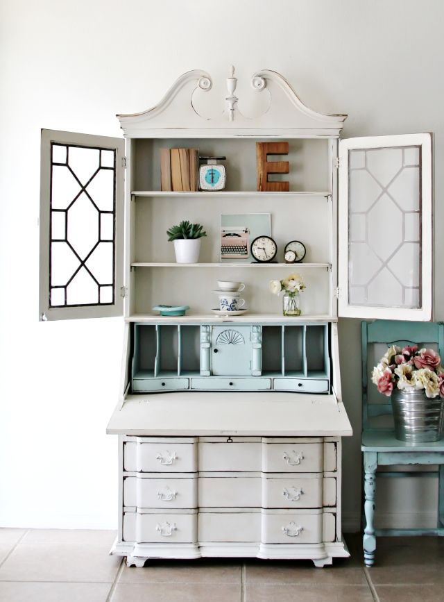 All Things Interior Shabby Chic Cabinet White Secretary Desk