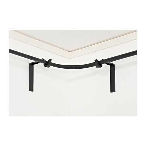 RÄCKA Curtain rod corner connector - black - IKEA/ comes in white too - GENIUS, for my half bay window wall!