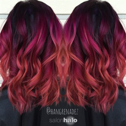 Berry Sunset Color Melt Formulas Sbs Orange Ombre Hair Red Purple