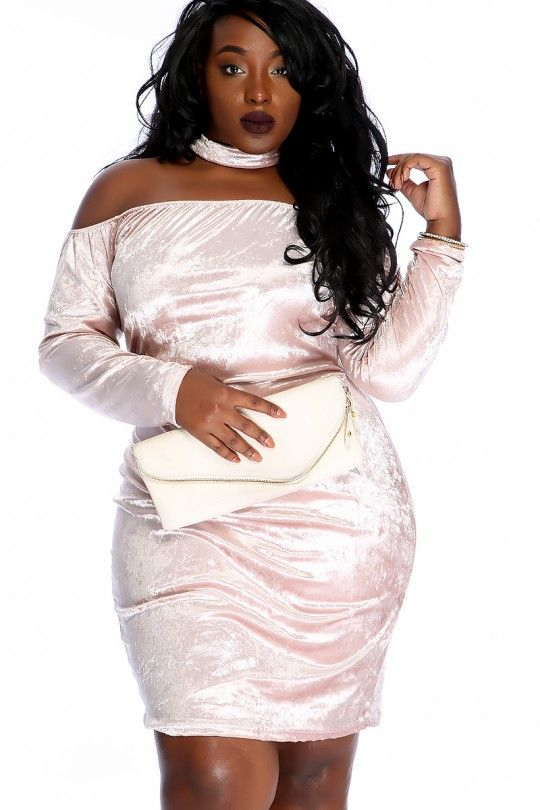 Sexy Dusty Pink Velvet Off The Shoulder Mock Neck Plus Size Party