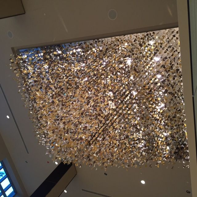 Custom chandelier glass leaves ballroom large scale lighting made in la