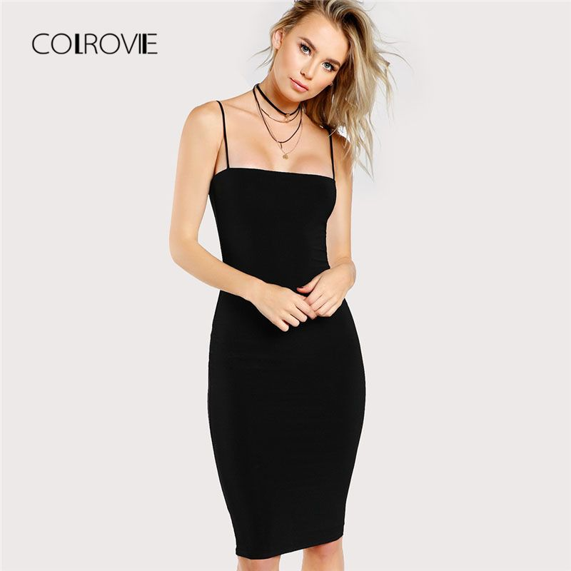 49677579b1f0f Black Solid Cami Bodycon Dress New Spaghetti Strap Sleeveless ...