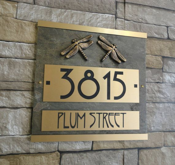Dragonfly House Numbers Plaque Free Mailbox Embellishment Event Going On Now Purchase Any Address Plaque With Images House Numbers Craftsman House Numbers Address Plaque
