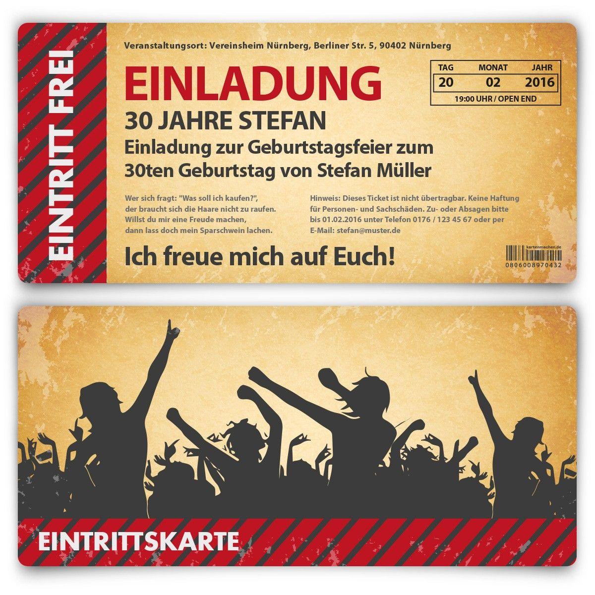 einladungskarten als eintrittskarte vintage bestellen, Einladungsentwurf